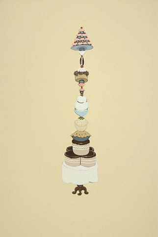 Sweets, painting, gouache, fountain, excess, art, justin richel, precarious, furniture, antique, table cloth, mess, quagmire, decadence, scrolls, pillar, column