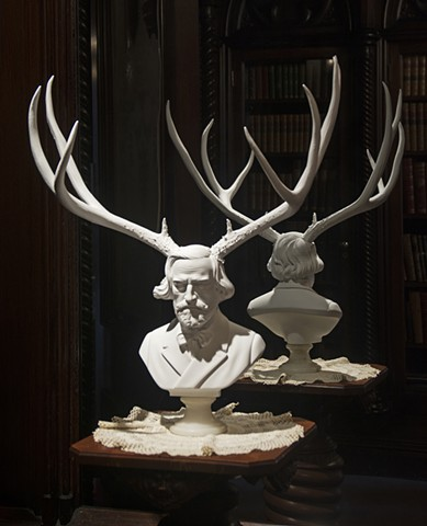 justinrichel, justin richel, art, wigs, big wigs, portrait, ecology, ecosystem, conservation, sadism, satire, bust, busts, sculpture, assemblage, classical, contemporary, Verdi, stag, deer, horny, antlers,