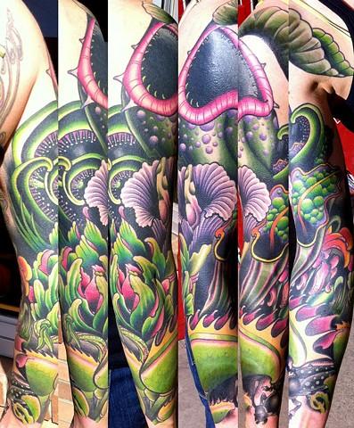 Carnivorous plant sleeve tattoo edmonton