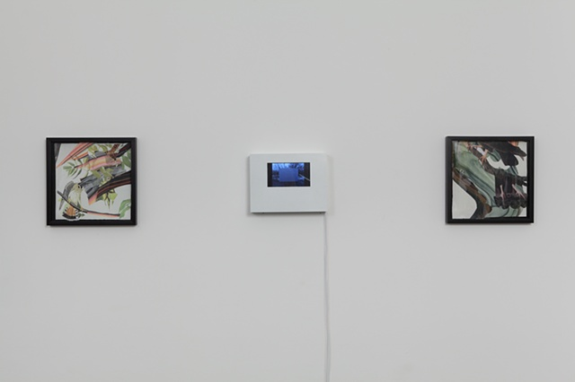 Installation view, with animation in the middle