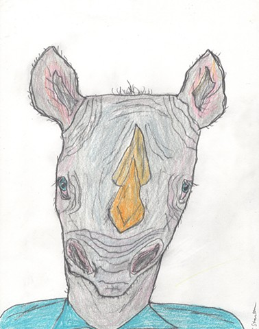 Drawing of a rhinoman by Christopher Stanton
