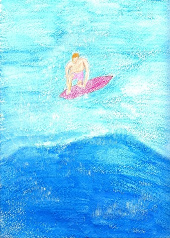 Drawing of a surfer by Christopher Stanton