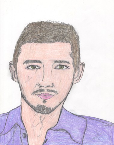 Colored pencil portrait drawing of Shia LaBeouf by Christopher Stanton