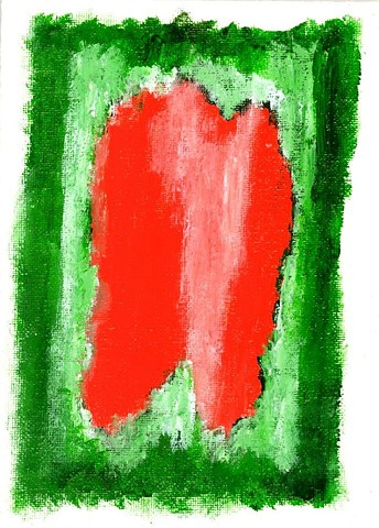 Red and green abstract painting by Christopher Stanton