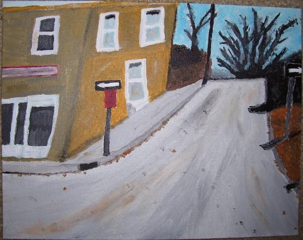 Acrylic painting of a street scene by Christopher Stanton