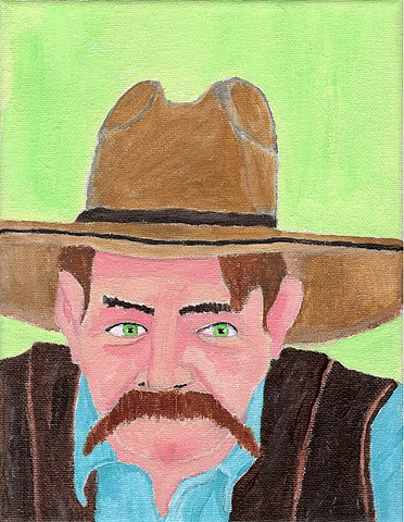 Acrylic painting of a cowboy by Christopher Stanton