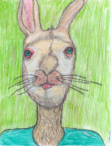 Drawing of a Rabbitman by Christopher Stanton