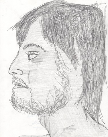 Pencil drawing of a young man with a beard by Christopher Stanton