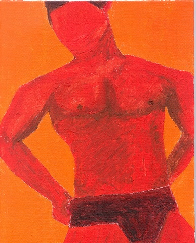 Acrylic painting of a man in underwear by Christopher Stanton