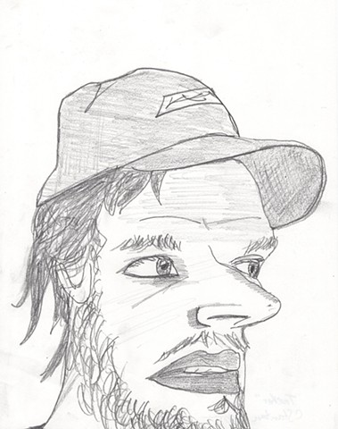Pencil drawing of a trucker by Christopher Stanton