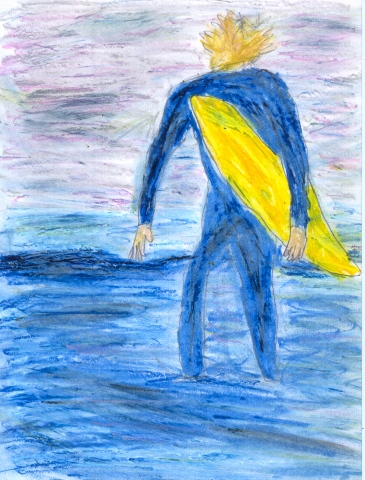 Pastel drawing of a surfer with his board by Christopher Stanton
