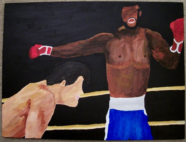 Acrylic painting of Rocky Balboa fighting Clubber Lang from the film Rocky III by Christopher Stanton