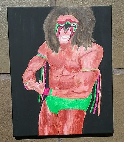 Acrylic painting of the wrestler The Ultimate Warrior by Christopher Stanton