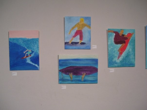 Acrylic paintings of surfers by Christopher Stanton