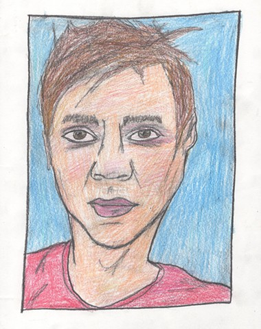 Colored pencil portrait drawing of a young man by Christopher Stanton