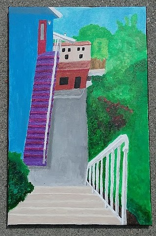 Acrylic painting of Beethoven Street in Mar Vista by Christopher Stanton