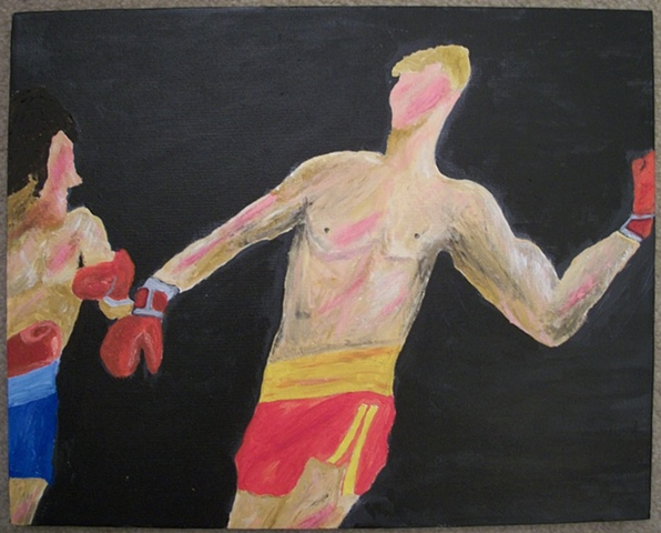 Acrylic painting of the match between Rocky Balboa (Sylvester Stallone) and Ivan Drago (Dolph Lundgren) from the film Rocky IV by Christopher Stanton