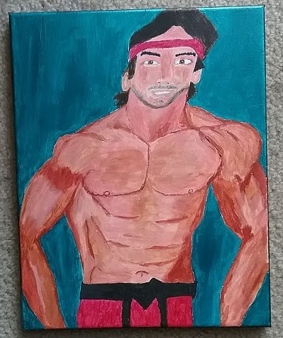Acrylic painting of wrestler Ricky The Dragon Steamboat by Christopher Stanton