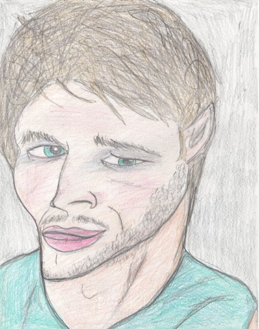 Colored pencil drawing of a bearded young man by Christopher Stanton