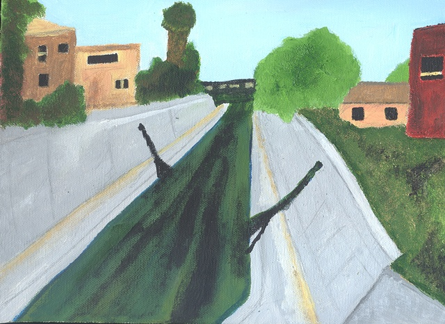 Acrylic painting of La Ballona Creek in Los Angeles, CA by Christopher Stanton