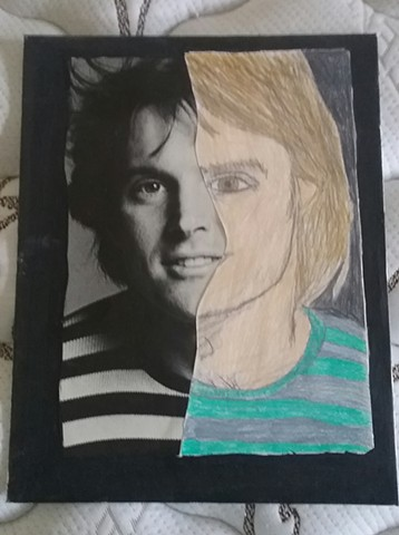 Mixed media portrait of Bruce Jenner by Christopher Stanton