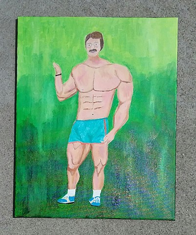 Acrylic painting of bodybuilder Mike Mentzer