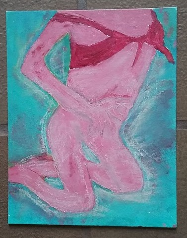 Acrylic and oil pastel painting of a nude woman by Christopher Stanton