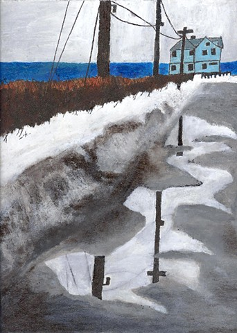 Acrylic painting of a winter road in Maine by Christopher Stanton