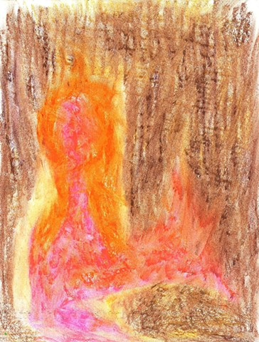 Pastel drawing of a burning man by Christopher Stanton