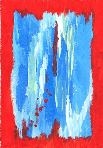 Red and blue abstract painting by Christopher Stanton