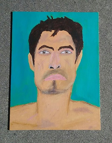 Acrylic painting of surfer Celestino Rodriguez by Christopher Stanton