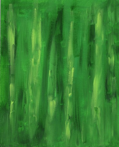 Green and yellow abstract acrylic painting by Christopher Stanton