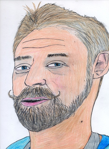 Drawing of the artist Aaron Smith by Christopher Stanton