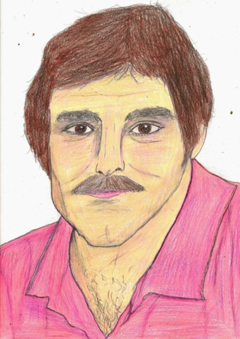 Drawing of the late porn star Harry Reems by Christopher Stanton