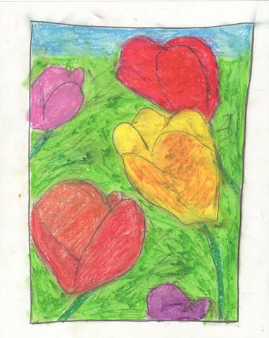 Oil pastel drawing of tulips by Christopher Stanton
