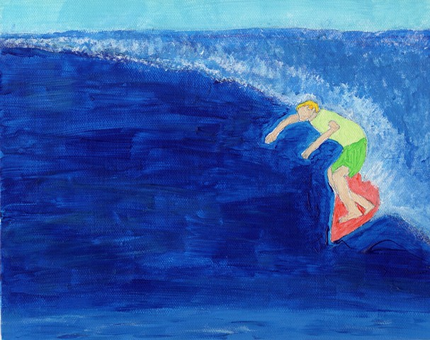 Painting of a surfer