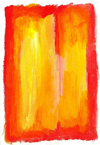 Red and yellow abstract painting by Christopher Stanton