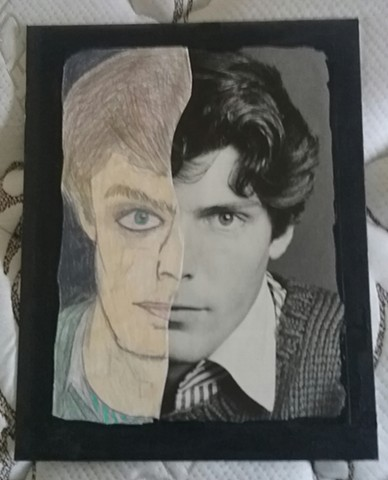 Mixed media portrait of Christopher Reeve by Christopher Stanton