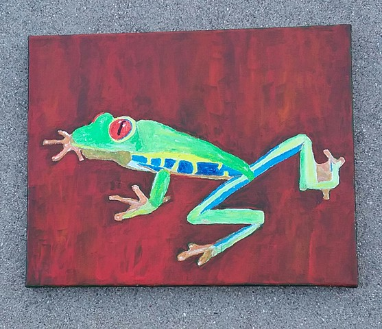 Acrylic painting of a tree frog by Christopher Stanton