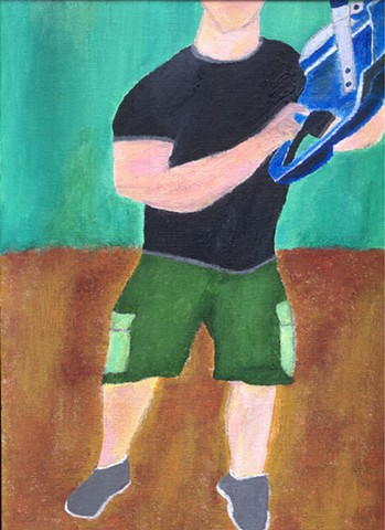 Acrylic painting of a man with a chainsaw by Christopher Stanton
