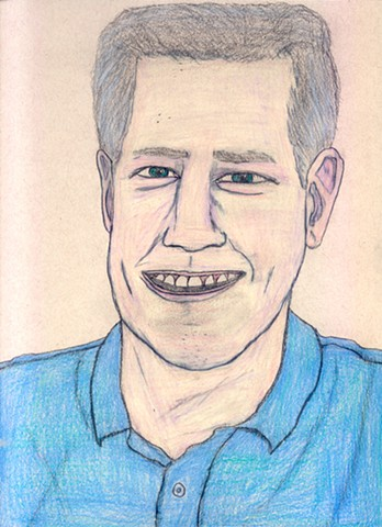 Drawing of the late TV personality Huell Howser by Christopher Stanton