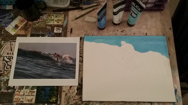 Acrylic painting of a surfer in progress by Christopher Stanton