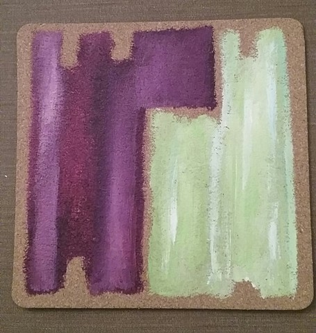Purple and green abstract painting