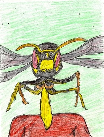 Illustration drawing of a waspman by Christopher Stanton