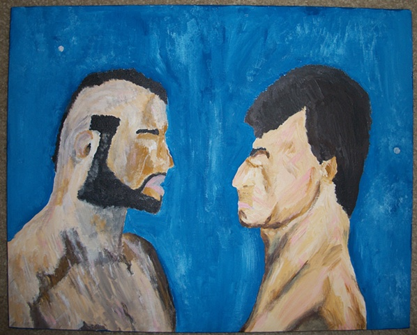 Acrylic painting of the faceoff between Rocky Balboa (Sylvester Stallone) and Clubber Lang (Mr. T) from the film Rocky III by Christopher Stanton