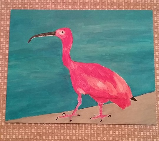 Painting of a scarlet ibis by Christopher Stanton