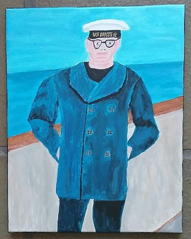 Acrylic painting of a coast guard man by Christopher Stanton