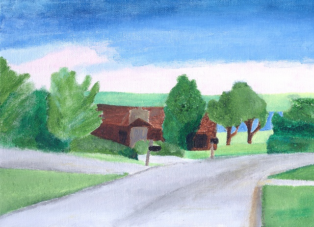 Acrylic painting of Cottonwood Circle in Manhattan, KS by Christopher Stanton