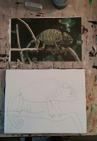 Acrylic painting of a chameleon in progress by Christopher Stanton
