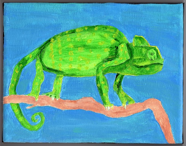 Acrylic painting of a chameleon by Christopher Stanton